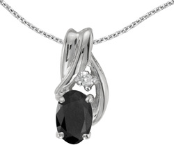 10k White Gold Oval Onyx & Diamond Pendant (Chain NOT included) P1861W-OX