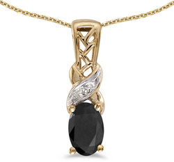 10k Yellow Gold Oval Onyx & Diamond Pendant (Chain NOT included) P2584-OX