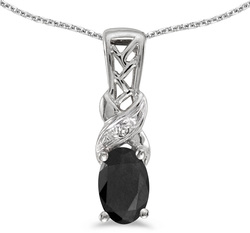 10k White Gold Oval Onyx & Diamond Pendant (Chain NOT included) P2584W-OX