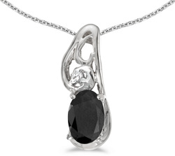 10k White Gold Oval Onyx & Diamond Pendant (Chain NOT included) P2590W-OX