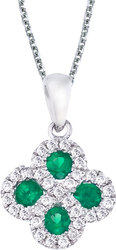 14K White Gold Emerald & .13ctw Diamond Clover Pendant (Chain NOT included)
