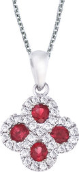 14K White Gold Round Ruby & .13ctw Diamond Clover Pendant (Chain NOT included)