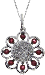 14K White Gold Round Ruby Sunflower Pendant (Chain NOT included)
