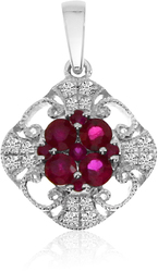 14K White Gold Round Ruby & Diamond Filigree Pendant (Chain NOT included) P3880W