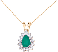 14K Yellow Gold 6x4mm Pear-Shaped Emerald & Diamond Pendant (Chain NOT included)