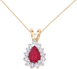 14K Yellow Gold 6x4mm Pear-Shaped Ruby & Diamond Pendant (Chain NOT included)