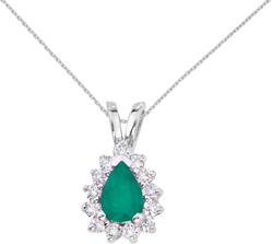 14K White Gold 6x4mm Pear-Shaped Emerald & Diamond Pendant (Chain NOT included)
