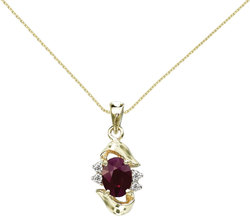 14K Yellow Gold Oval Ruby & Diamond Pendant (Chain NOT included) P6079-07