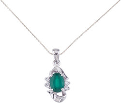 14K White Gold Oval Emerald & Diamond Pendant (Chain NOT included) P6079W-05