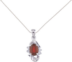 14K White Gold Oval Ruby & Diamond Pendant (Chain NOT included) P6079W-07
