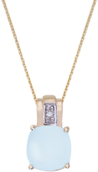 14K Yellow Gold Cushion Cut Blue Topaz & Diamond Pendant (Chain NOT included)