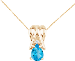 14K Yellow Gold Blue Topaz & Diamond Pear-Shaped Pendant (Chain NOT included)