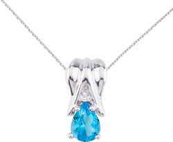 14K White Gold Blue Topaz & Diamond Pear-Shaped Pendant (Chain NOT included)