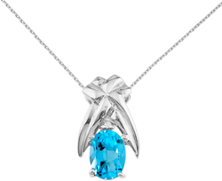 14K White Gold 7x5mm Blue Topaz & Diamond Oval Pendant (Chain NOT included)