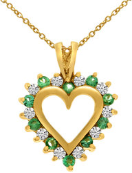 14K Yellow Gold Emerald & Diamond Heart Shaped Pendant (Chain NOT included)
