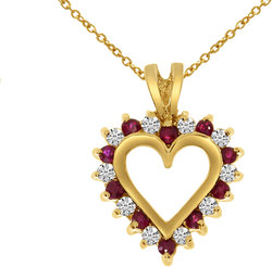14K Yellow Gold Round Ruby & Diamond Heart Shaped Pendant (Chain NOT included)