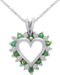 14K White Gold Round Emerald & Diamond Heart Shaped Pendant (Chain NOT included)