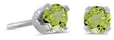 14k White Gold Round Peridot Stud Earrings (CM-E1420XW-08)