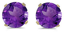 14k Yellow Gold Round Amethyst Stud Earrings (CM-E1471X-02)