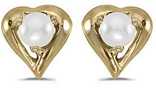 14k Yellow Gold Pearl Heart Earrings