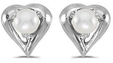 14k White Gold Pearl Heart Earrings