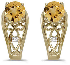 14k Yellow Gold Round Citrine And Diamond Earrings