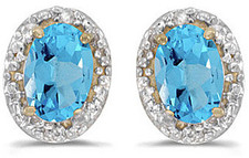14k Yellow Gold Oval Blue Topaz And Diamond Earrings (CM-E2615X-12)