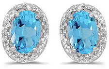14k White Gold Oval Blue Topaz And Diamond Earrings (CM-E2615XW-12)