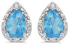 14k White Gold Pear Blue Topaz And Diamond Earrings
