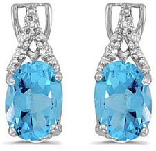 14k White Gold Oval Blue Topaz And Diamond Earrings (CM-E2620XW-12)