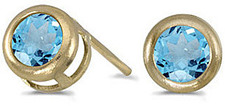 14k Yellow Gold Round Blue Topaz Bezel Stud Earrings
