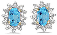 14k Yellow Gold Oval Blue Topaz And Diamond Earrings (CM-E6410X-12)