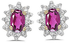 14k Yellow Gold Oval Pink Topaz And Diamond Earrings (CM-E6410X-PT)