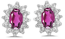 14k White Gold Oval Pink Topaz And Diamond Earrings (CM-E6410XW-PT)