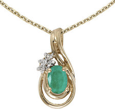 14k Yellow Gold Oval Emerald And Diamond Teardrop Pendant (Chain NOT included)