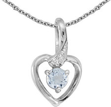 10k White Gold Round Aquamarine And Diamond Heart Pendant (Chain NOT included)