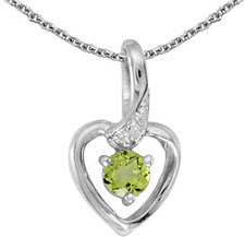 10k White Gold Round Peridot And Diamond Heart Pendant (Chain NOT included)