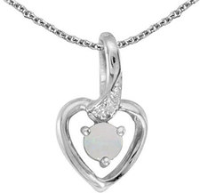 10k White Gold Round Opal And Diamond Heart Pendant (Chain NOT included)