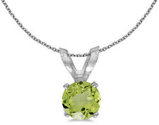 14k White Gold Round Peridot Pendant (Chain NOT included) (CM-P1414XW-08)