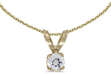 14k Yellow Gold Round White Topaz Pendant (Chain NOT included) (CM-P1418X-04)