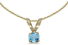 14k Yellow Gold Round Blue Topaz Pendant (Chain NOT included) (CM-P1418X-12)
