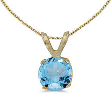 14k Yellow Gold Round Blue Topaz Pendant (Chain NOT included)