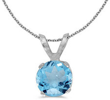 14k White Gold Round Blue Topaz Pendant (Chain NOT included)