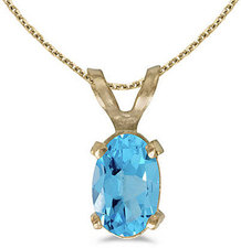 14k Yellow Gold Oval Blue Topaz Pendant (Chain NOT included)