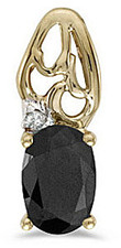 14k Yellow Gold Oval Onyx And Diamond Pendant (Chain NOT included) (CM-P2582X-OX)