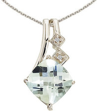 14K White Gold Green Amethyst and Diamond Pendant (Chain NOT included)