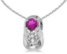 10k White Gold Round Pink Topaz Baby Bootie Pendant (Chain NOT included)
