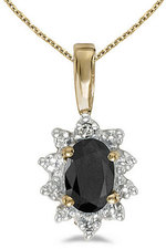 14k Yellow Gold Oval Onyx And Diamond Pendant (Chain NOT included)