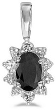 14k White Gold Oval Onyx And Diamond Pendant (Chain NOT included)