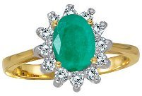 14k Yellow Gold Oval Emerald And Diamond Ring (CM-R2404A-05)